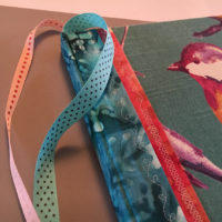 Ribbon bookmarks in book with traditional case binding